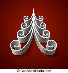 albero, natale, fondo, argento, rosso, 3d