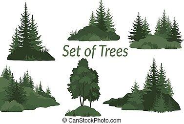 albero, paesaggi, silhouette