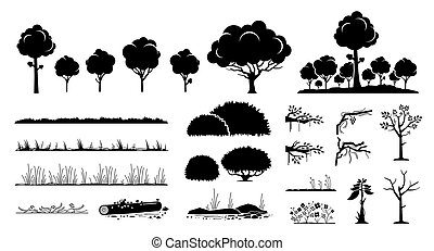 albero, piante, design., grafico, erba, vettore