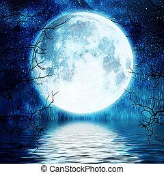 albero, pieno, rami, contro, luna