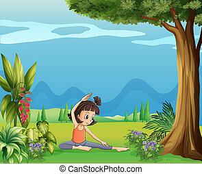 albero, ragazza, yoga, giovane, sotto