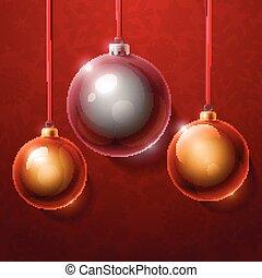 albero, realistico, palle, natale, dorato, argento, baluginante, vetro
