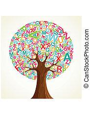 albero, scuola, concetto, educazione
