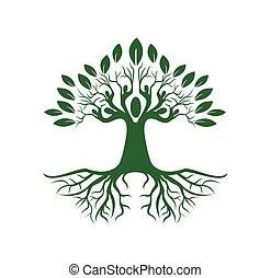albero, segno, persone, vettore