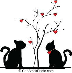 albero, silhouette, amore, gatto