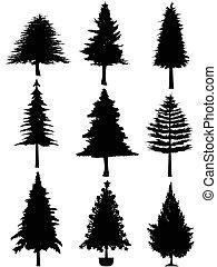 albero, silhouette, natale
