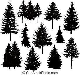 albero, silhouette, pino, differente