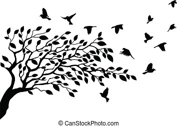 albero, silhouette, uccello