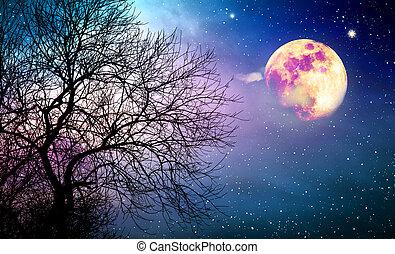 albero, sky., pieno, notte, colorito, silhouette, luna