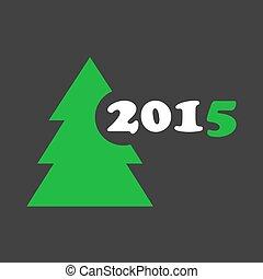 albero, -, stilizzato, auguri, anno, nuovo, natale