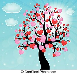albero, tema, 2, silhouette, cuori