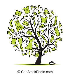 albero, tuo, guardaroba, disegno, vestiti