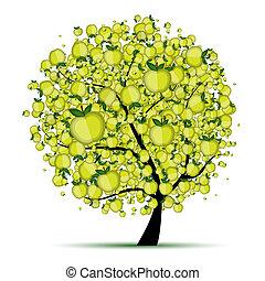 albero, tuo, mela, disegno, energia