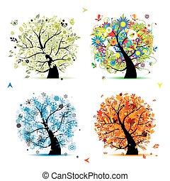 albero, tuo, primavera, winter., stagioni, -, autunno, estate, arte, quattro, disegno, bello