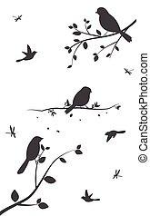 albero, uccelli, colorito