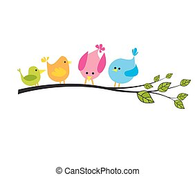 albero, uccelli