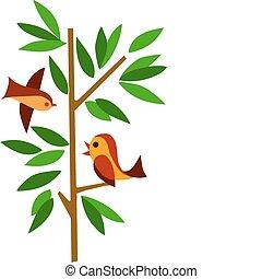 albero verde, due uccelli