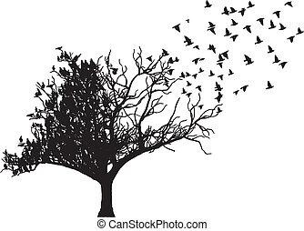 albero, vettore, arte, uccello