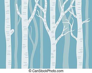 albero, vettore, blu, illustrazione, pioppo tremolo, fondo