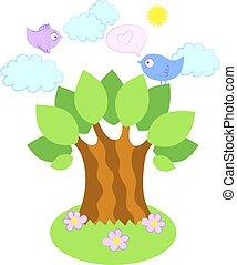 albero, vettore, uccelli, illustrazione