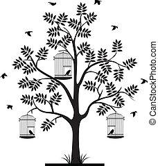 albero, volare, silhouette, uccelli