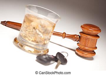 alcolico, &, chiavi, automobile, bevanda, martelletto