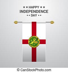 alderney, bandiera, fondo, appendere, giorno, indipendenza