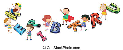 alfabeti, bambini, gioco