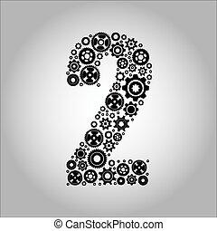 alfabeto, 2, -, gear-number
