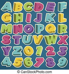 alfabeto, 3d, retro, numeri