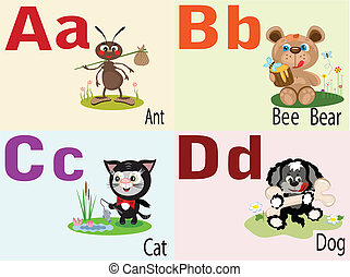 alfabeto, animale, uno