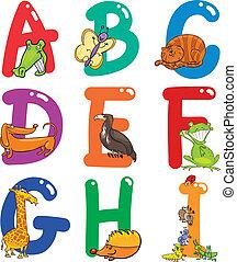 alfabeto, animali, cartone animato