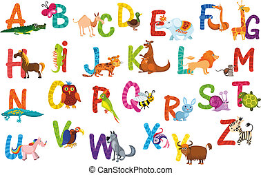 alfabeto, animali