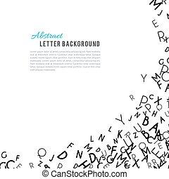 alfabeto, astratto, ornamento, isolato, sfondo nero, bianco, cornice