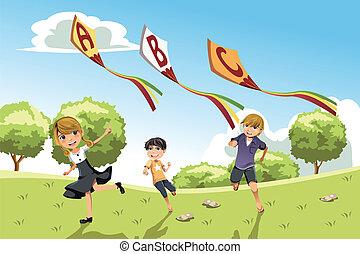 alfabeto, bambini, cervi volanti