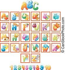 alfabeto, bambini, colorito, immagini
