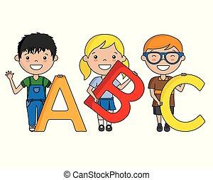 alfabeto, bambini, felice