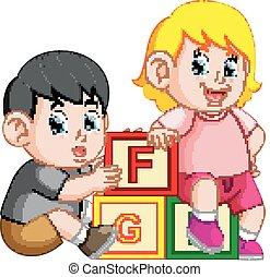 alfabeto, bambini, giocare blocco