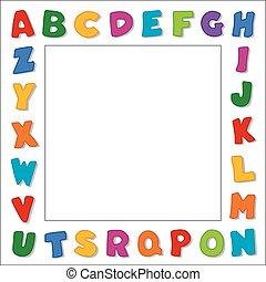 alfabeto, bianco, bordo, cornice