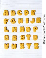 alfabeto, biscotti, quaderno, modellato