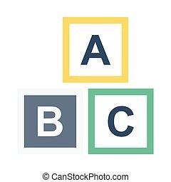 alfabeto blocca, appartamento, icona
