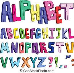 alfabeto, cartone animato, 3d