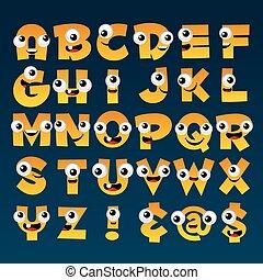alfabeto, cartone animato, giallo