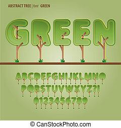 alfabeto, cifra, vettore, albero, astratto