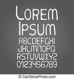 alfabeto, cifra, vettore, astratto, bianco