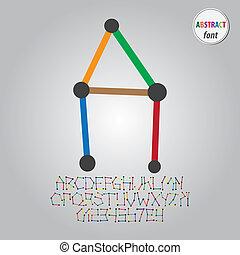 alfabeto, cifra, vettore, astratto, colorito