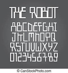 alfabeto, cifra, vettore, astratto, robot