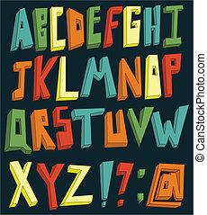 alfabeto, colorito, 3d