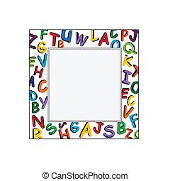 alfabeto, cornice, bianco, backgro