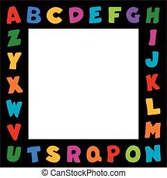 alfabeto, cornice, bordo, nero